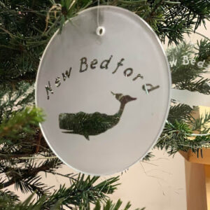 New bedford text whale ornament