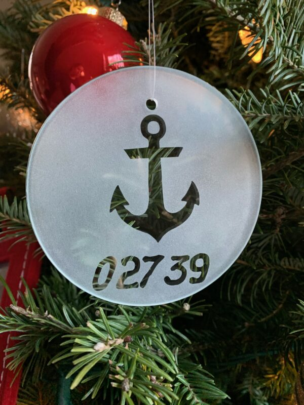 frosted glass ornament anchor